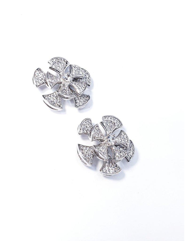ERH0420 - Silver Rose  Earring