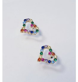 ERH0021 - Gold Multicolour, Heart Earring