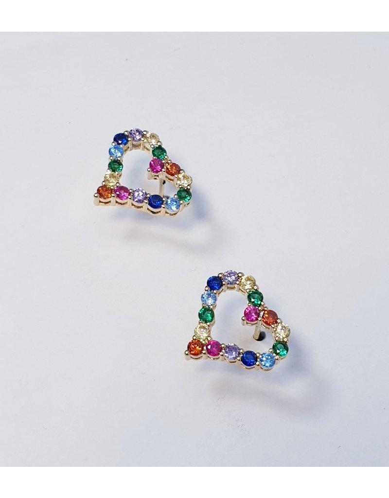 ERH0021 - Gold Multicolour, Heart Earring