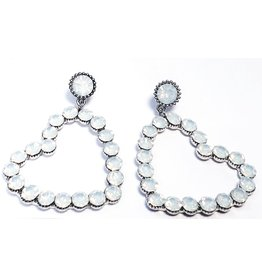 ERH0022 - Pewter White, Heart Earring