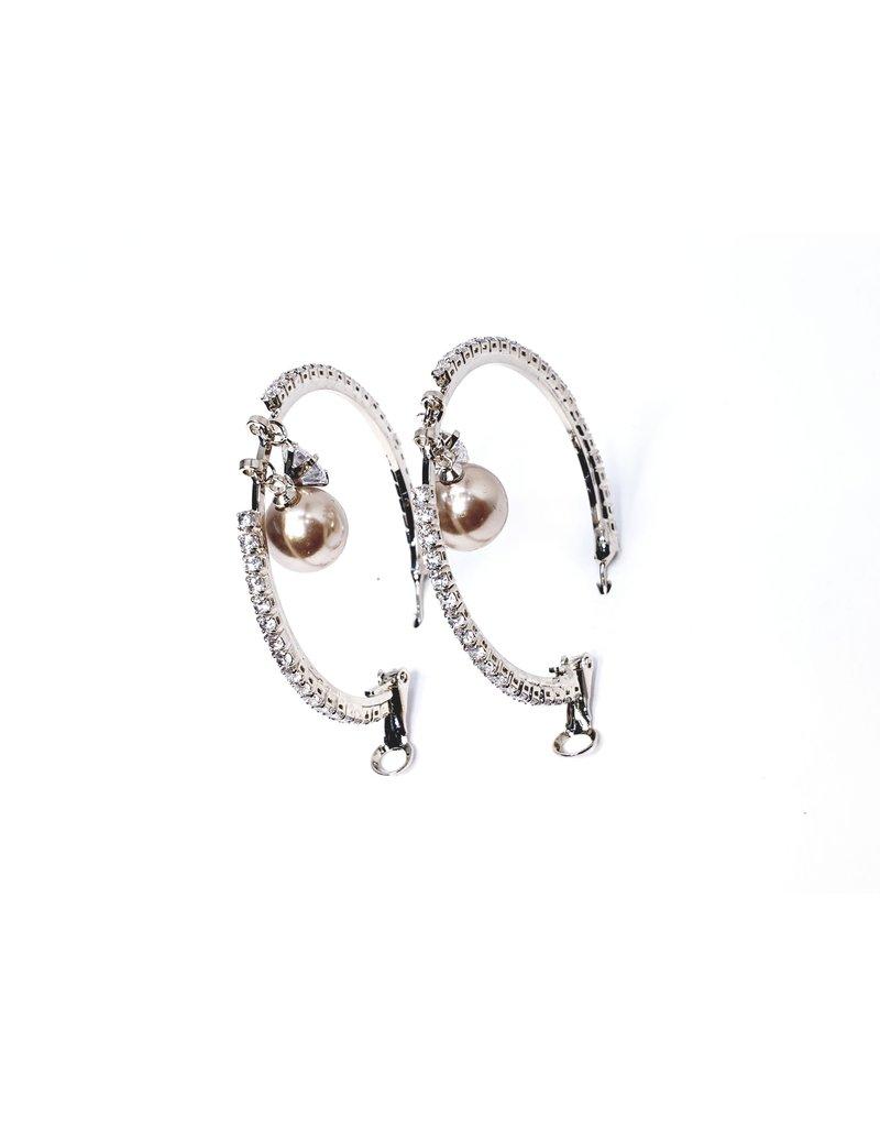 ERH0031 - Silver Hoop, Pearl,  Earring