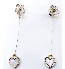 ERH0034 - Gold Flower, Heart,  Earring