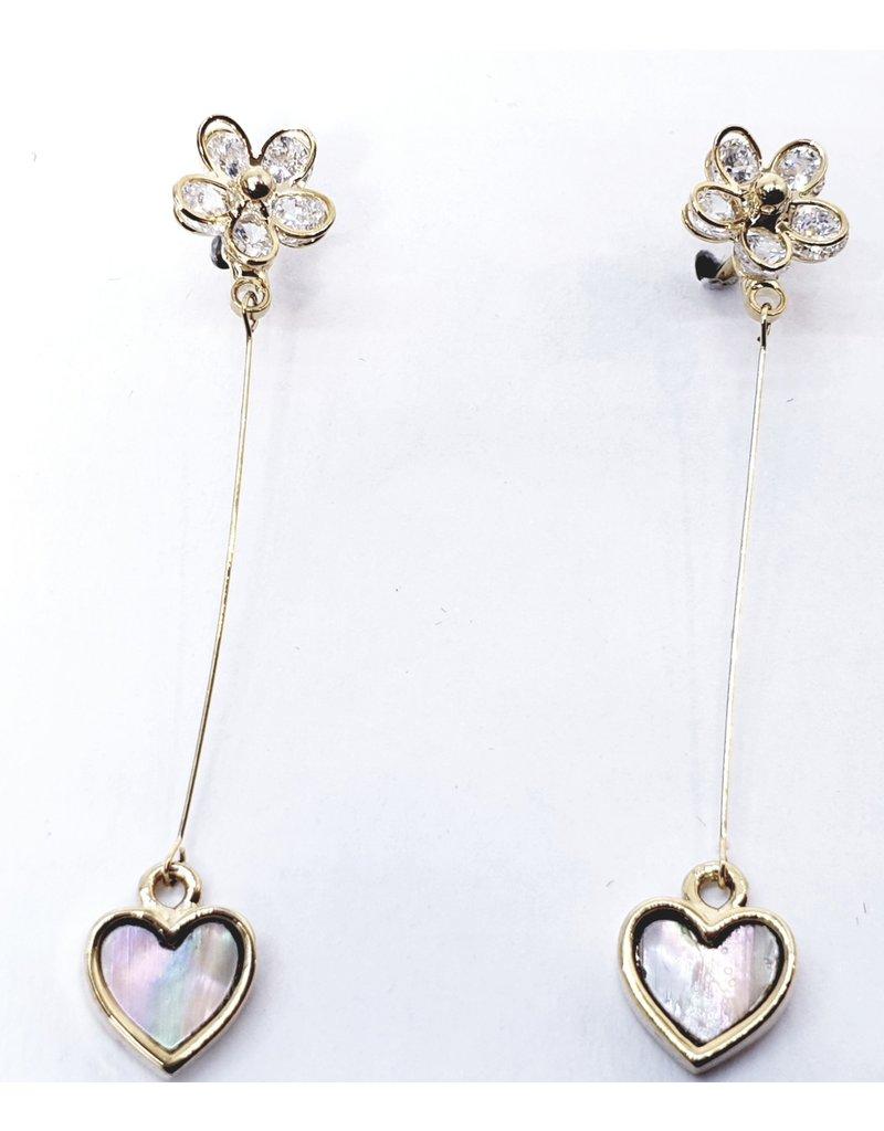 ERH0034 - Gold Flower, Heart,  Earring