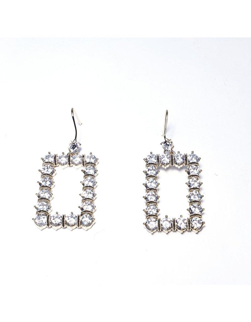 ERH0047 - Gold Drop Rectangle,  Earring