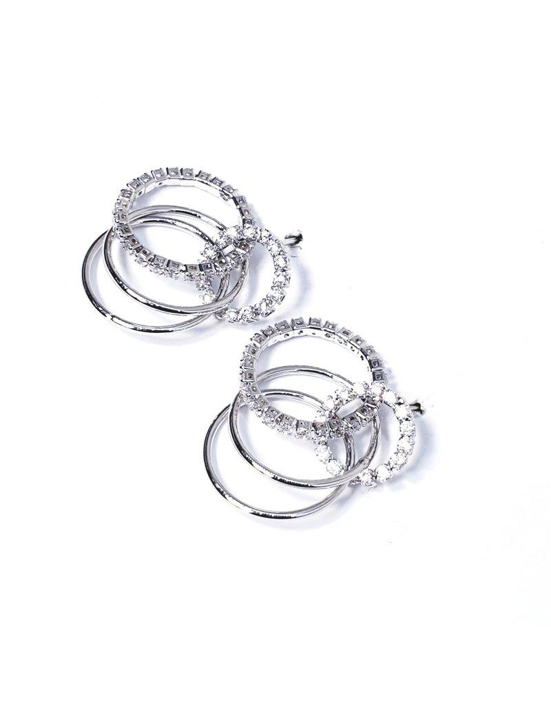 ERH0048 - Silver Triple Hoop,  Earring