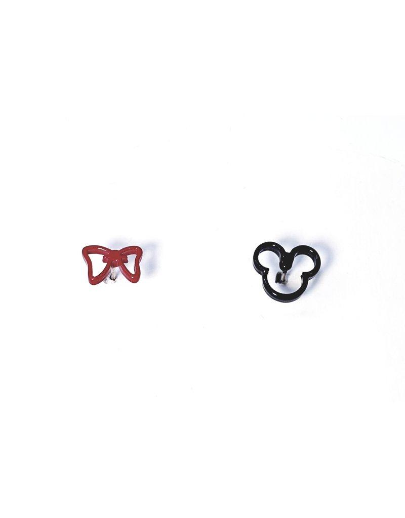 ERH0055 - Black Minnie, Bow,  Earring