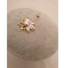 BLA0030-Gold,Flower Belly Ring