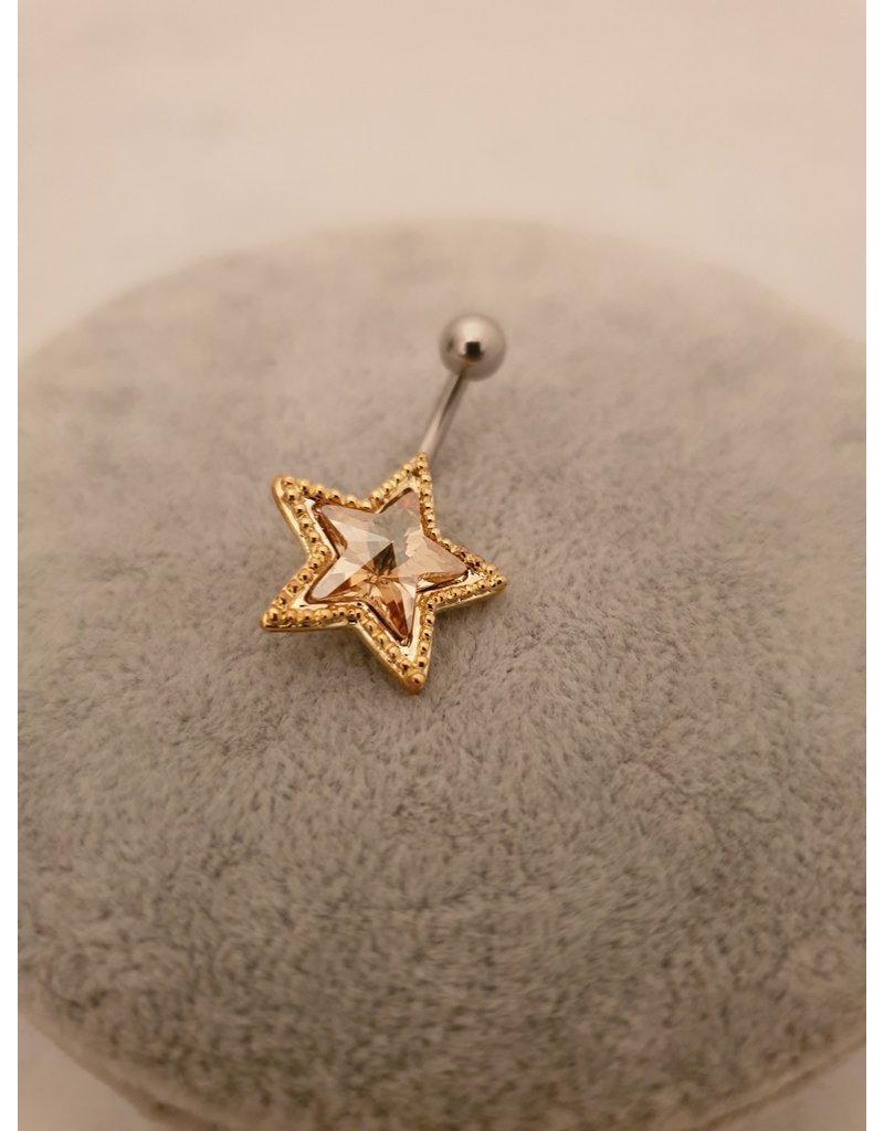 BLA0035-Gold,Star Belly Ring