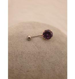 BLA0037-Silver,Purple Belly Ring