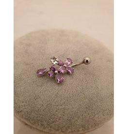 BLA0041-Silver,Purple Belly Ring