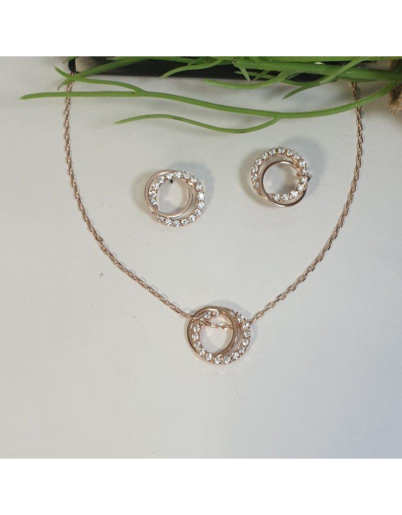 CSC0004 - Rose Gold, Double Circle Necklace Set