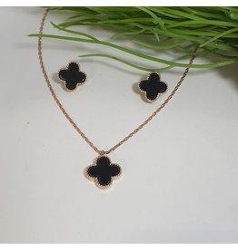 CSC0005 - Rose Gold, 3 Black Flowers Necklace Set