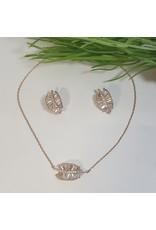 CSC0009 - Rose Gold, Leaf Necklace Set