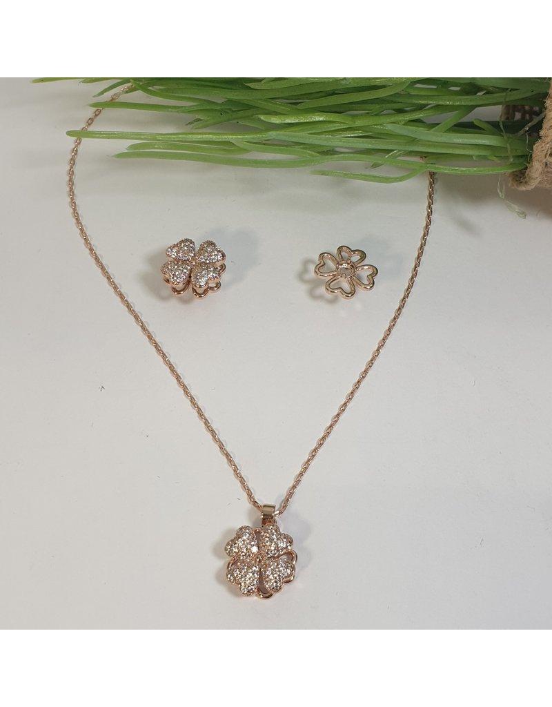 CSC0013 - Rose Gold, Flower Necklace Set