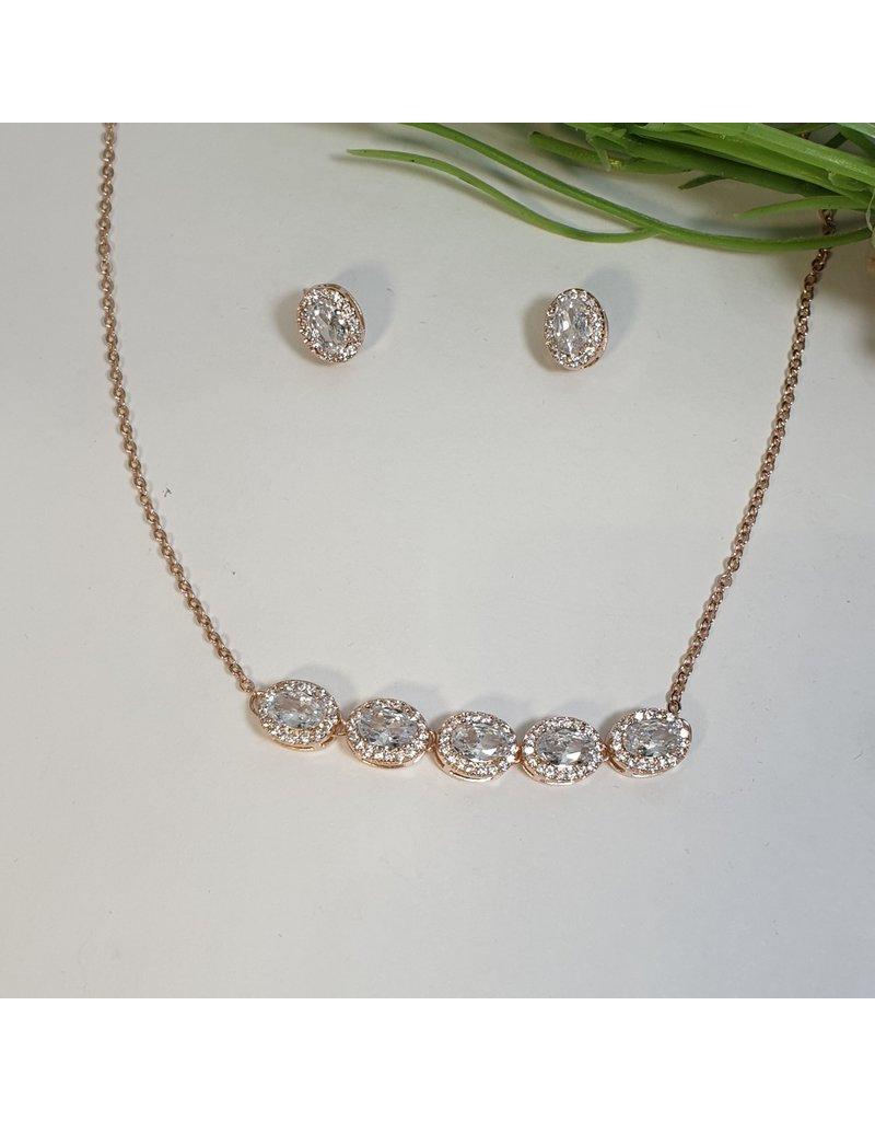 CSC0015 - Rose Gold, Oval Diamond Necklace Set