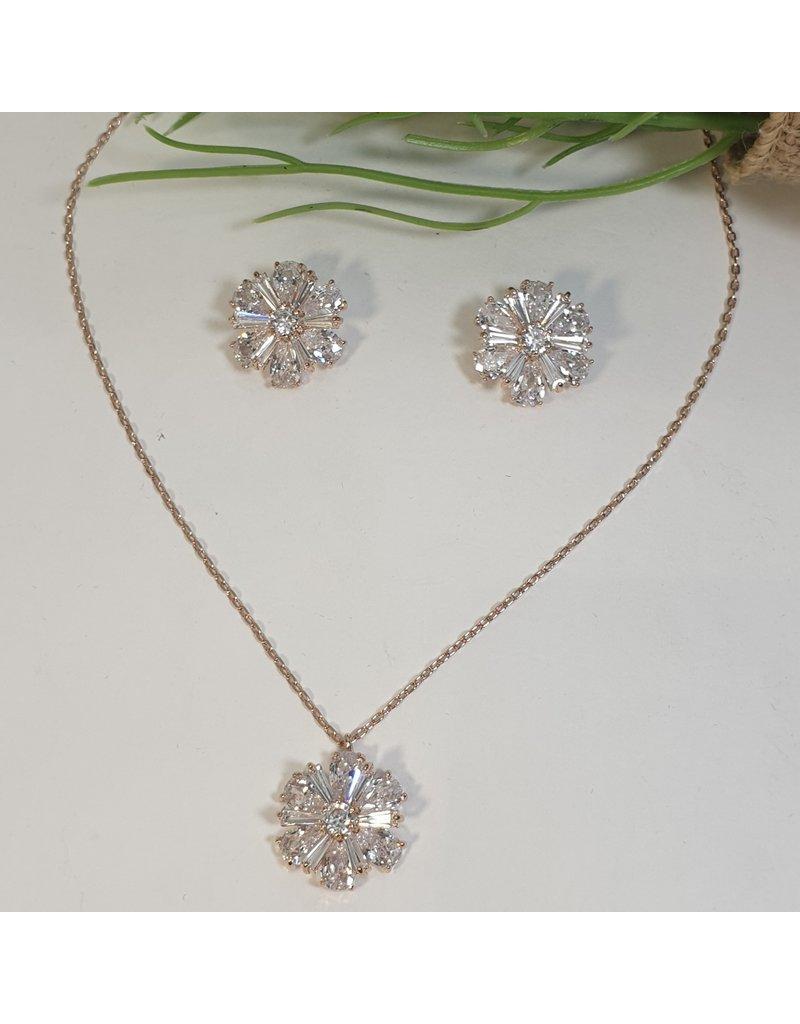 CSC0020 - Rose Gold, Big Flower Necklace Set