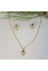 CSC0023 - Gold, Tree, Black Stud Necklace Set