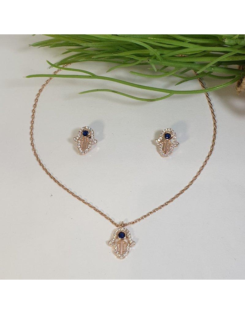 CSC0024 - Rose Gold, Tree, Black Stud Necklace Set