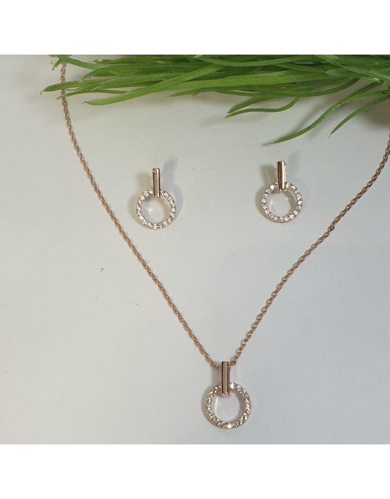 CSC0025 - Rose Gold, Circle Necklace Set