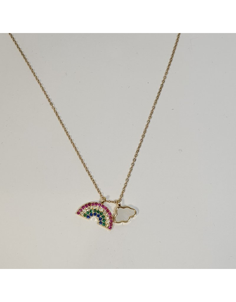 SCD0002 - Gold, Rainbow Short Necklace