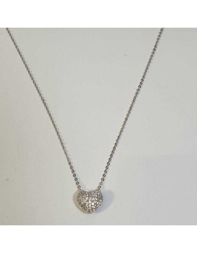 SCD0009 - Silver, Heart Short Necklace