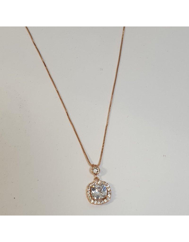 SCD0015 - Rose Gold, Square  Short Necklace