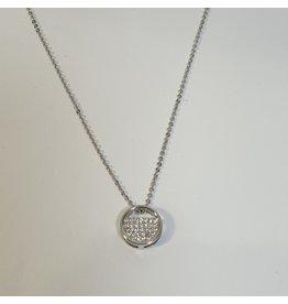 SCD0036 - Silver, Circle Crystal Short Necklace