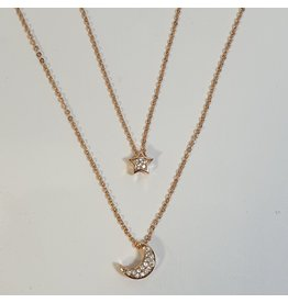 SCD0041 - Rose Gold, Moon & Star Layered Short Necklace