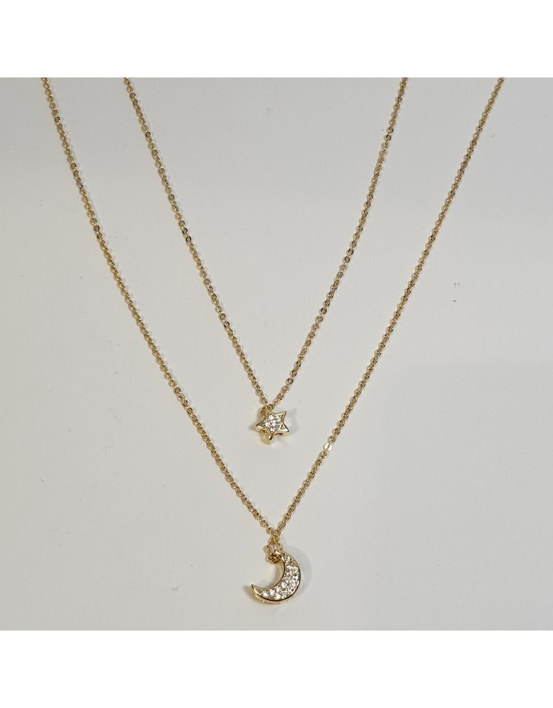 SCD0040 - Gold, Moon & Star Layered Short Necklace