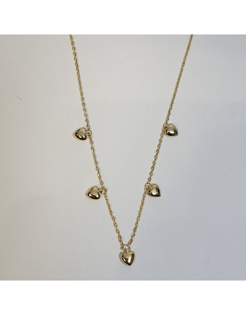 SCD0043 - Gold, Hearts Short Necklace