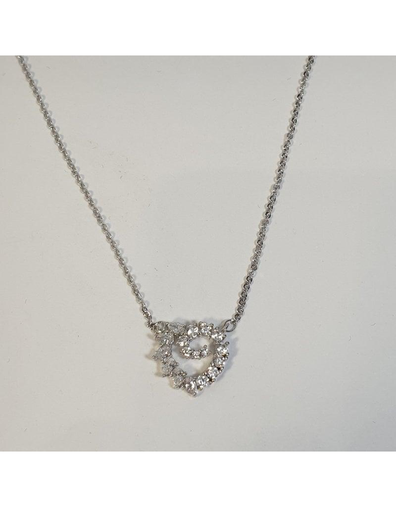 SCD0042 - Silver, Heart Short Necklace