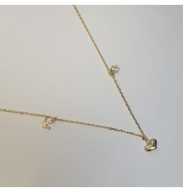 SCD0056 - Gold, Crown, Heart Pendant Short Necklace