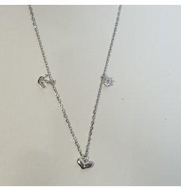 SCD0058 - Silver, Crown, Heart Pendant Short Necklace