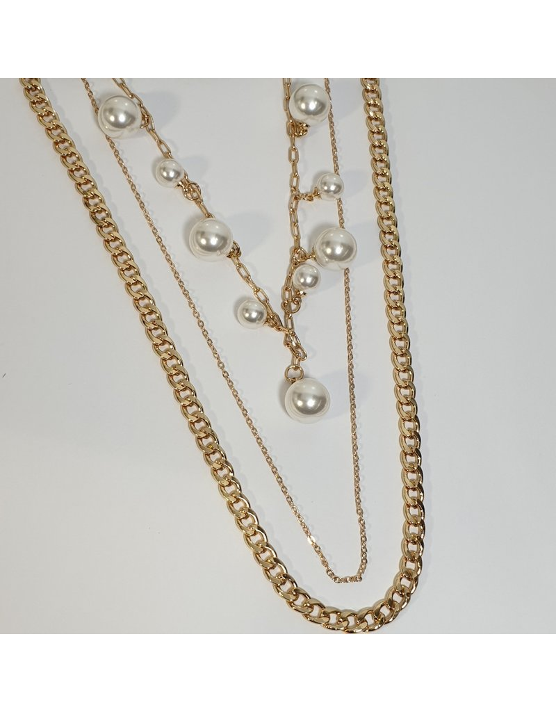 LCD0019 - Gold Pearl Multi-Layer Necklace