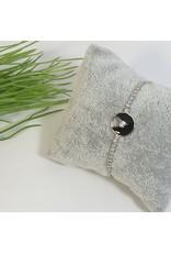 BJG0005 - Silver, Circle, Black Adjustable Bracelet