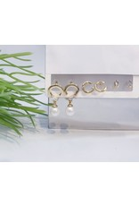 EMA0002 - Gold Baguette, Pearl, Pink Lips, Diamante Multi-Pack Earring