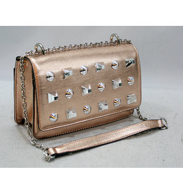 20260014 -Rose Gold Studded  Clutch