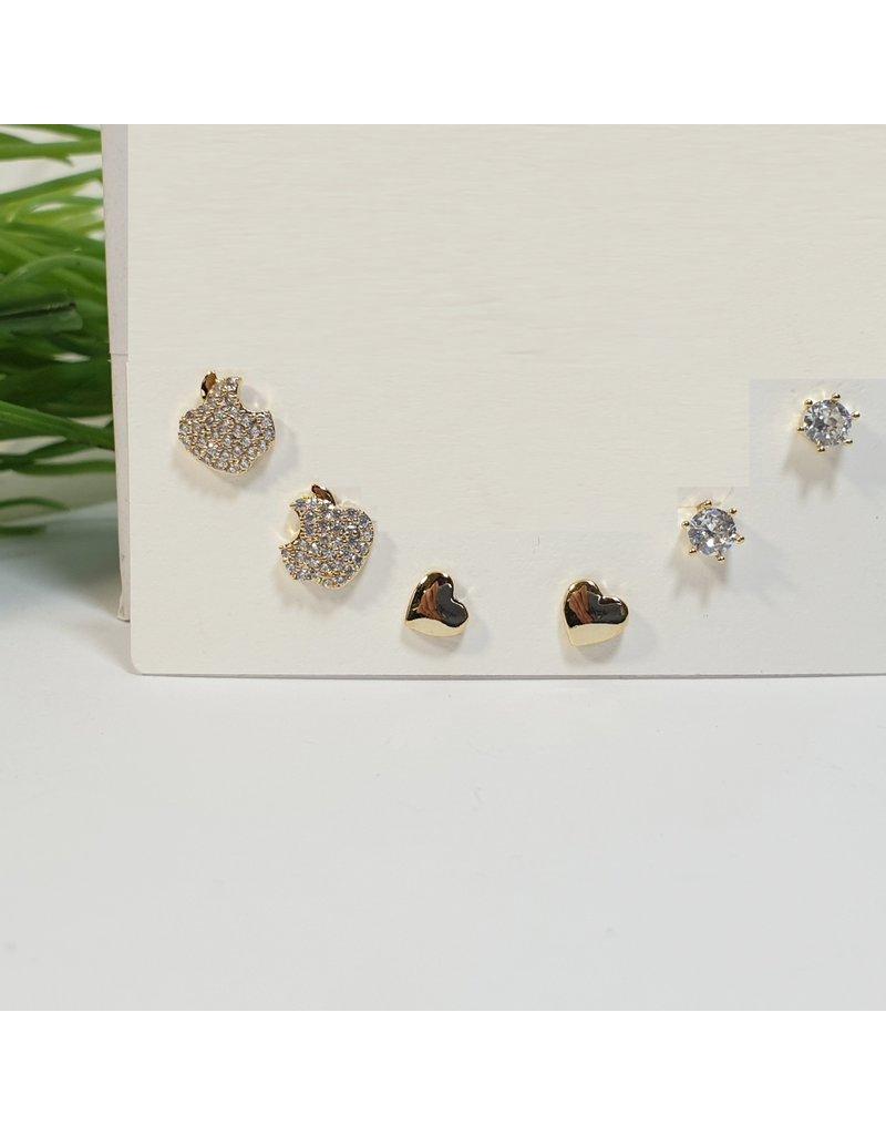 EMA0063 - Gold Heart, Apple, Diamante Stud  Multi-Pack Earring