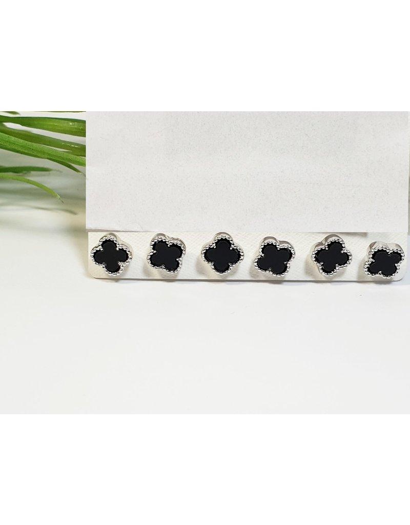 EMA0072 - Black Flower Silver  Multi-Pack Earring