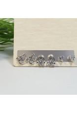 EMA0071 - Silver Hello Kitty, Earphones, Diamante Stud  Multi-Pack Earring