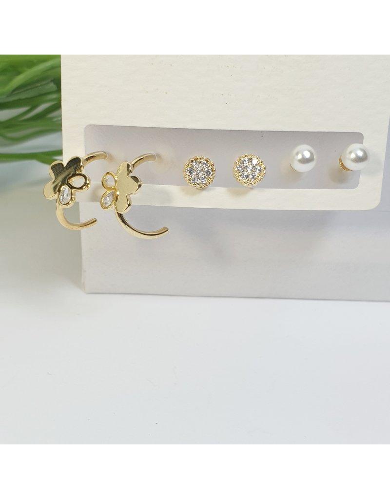 EMA0073 - Gold/Pearl  Multi-Pack Earring