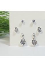 EMA0080 - Silver Drop, Teardrop, Diamante Stud  Multi-Pack Earring
