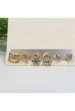 EMA0083 - Gold Hello Kitty, Earphones, Diamante Stud  Multi-Pack Earring