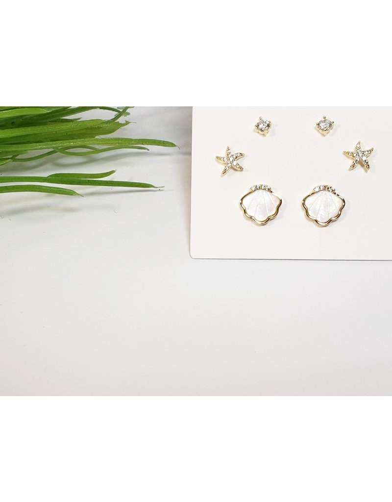 EMA0092 - Gold Shell, Star, Diamante  Multi-Pack Earring