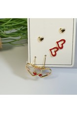 EMA0103 - Gold Red  Multi-Pack Earring