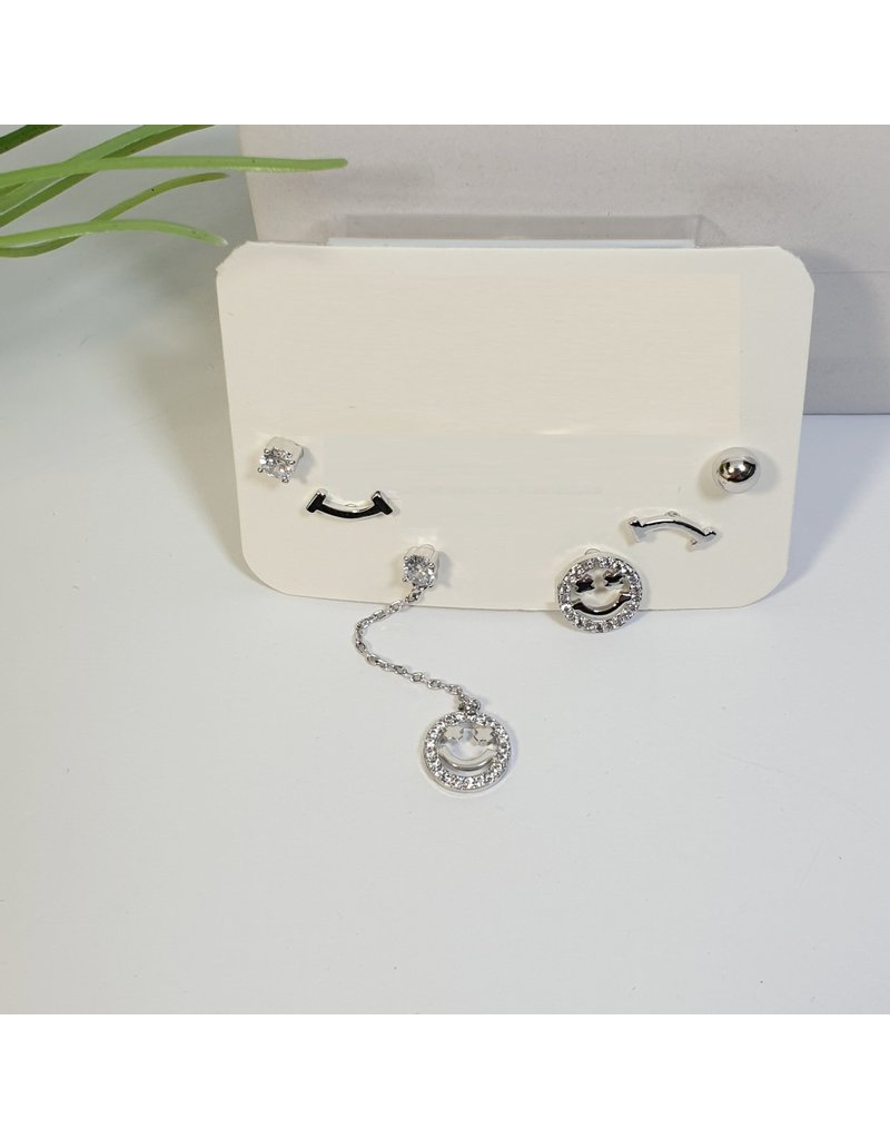 EMA0105 - Silver Smiley  Multi-Pack Earring