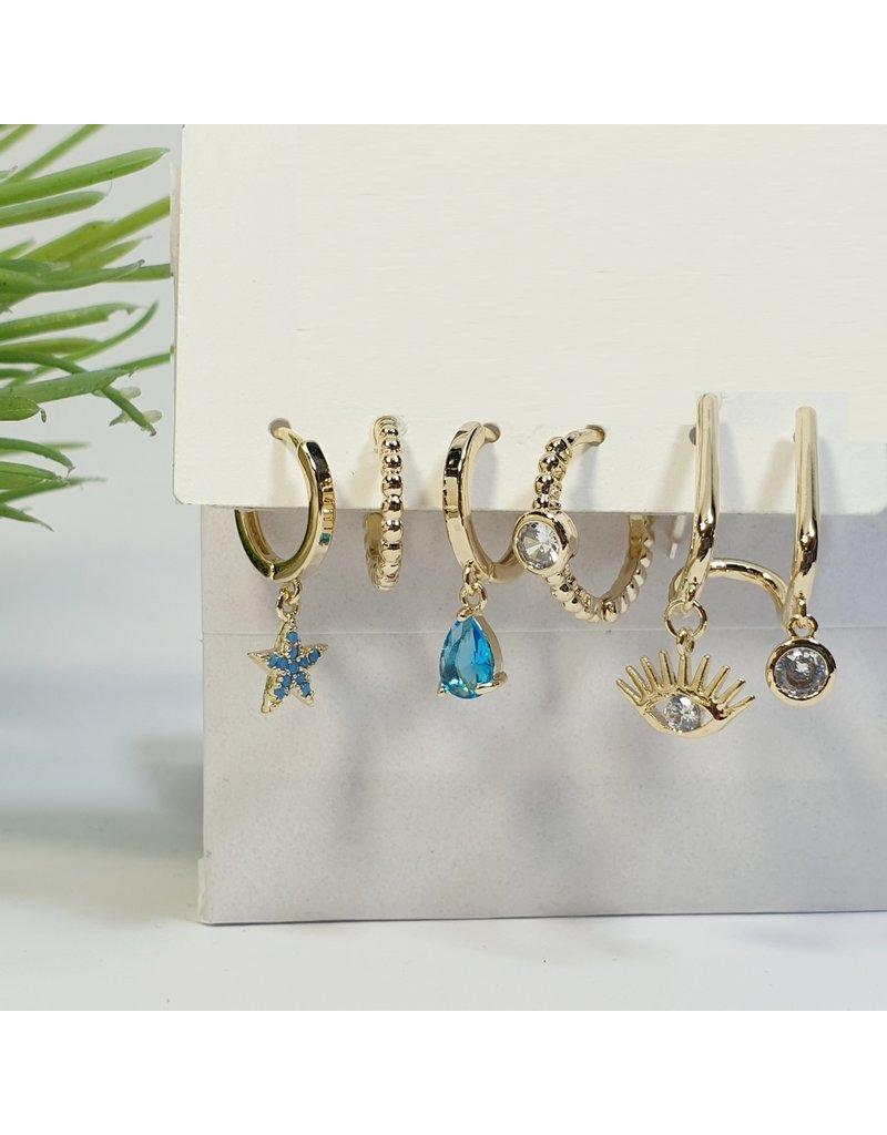 EMA0111 - Gold Turqoise  Multi-Pack Earring