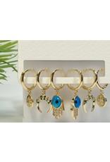 EMA0122 - Gold Turqoise  Multi-Pack Earring