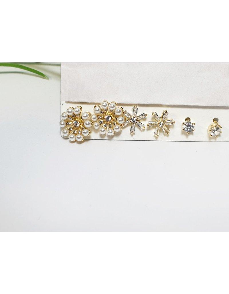 EMA0142 - Gold Pearl  Multi-Pack Earring