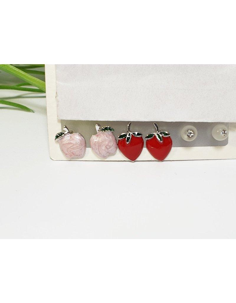 EMA0143 - Silver Strawberry, Apple  Multi-Pack Earring